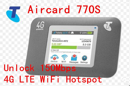 Unlock 150Mbps Sierra Wireless Aircard 770S Portable 4G LTE Mobile WiFi Hotspot Support North and South AmericaUnlock 150Mbps Sierra Wireless Aircard 770S Portable 4G LTE Mobile WiFi Hotspot Support North and South America