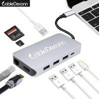 Thunderbolt 3 Dock Usb C Hub Hdmi Ethernet Rj45 Usb3 0 Usb C Charger Cable Tf