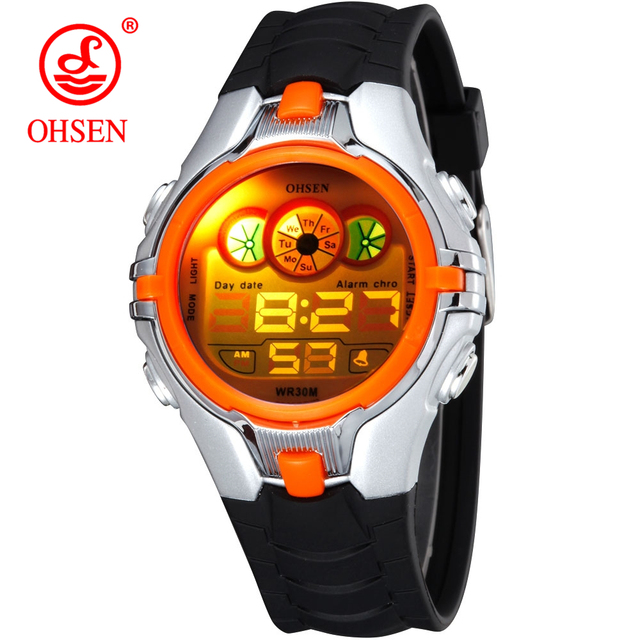 OHSEN Boys Kids Children Quartz Sport Watch Alarm Date Chronograph Watches LED B