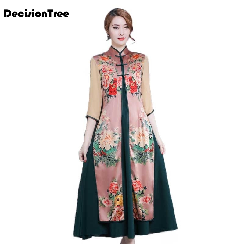 2019 summer print long sleeve dress chinese women silk qipao cheongsam peacock&flower dress qipao Embroidery aodai vintage dress