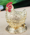 Good Luck and Godd Fortune Bring Rooster Chicken Statue Trinket Jewelry Box Fengshui Chicken Jewelry Box with Coins Covered
