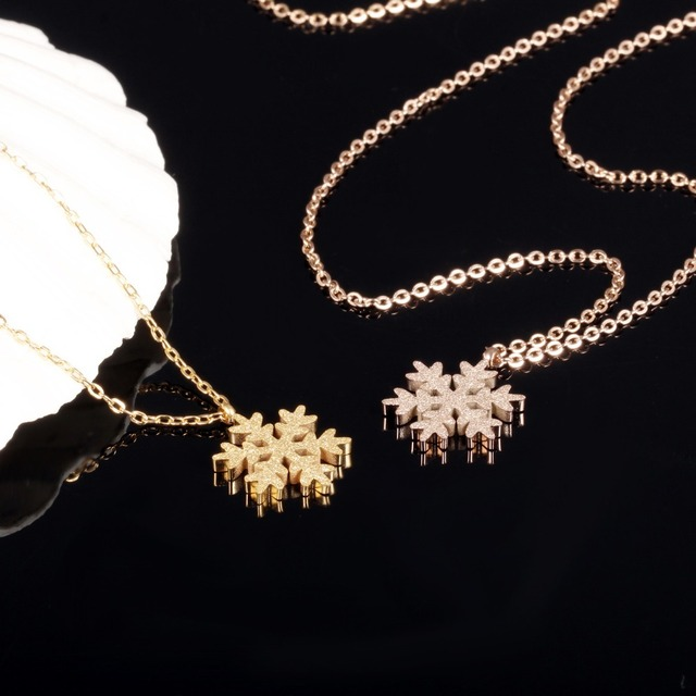 Ms titanium steel rose gold plating frosted flakes necklace