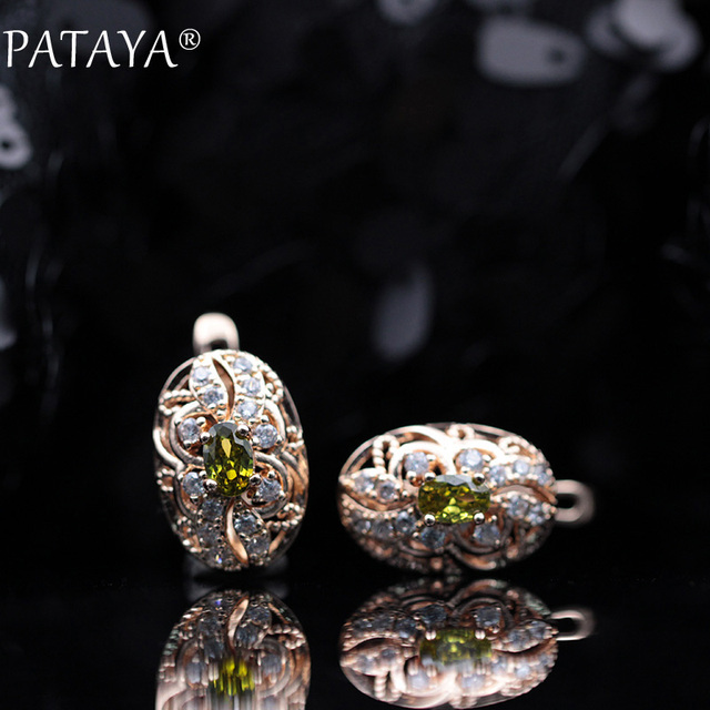 PATAYA 328 Anniversary 585 Rose Gold 11 Colors Oval Micro Wax Inlay Natural Zircon Dangle Earrings.jpg 640x640 - PATAYA 328 Anniversary 585 Rose Gold 11 Colors Oval Micro Wax Inlay Natural Zircon Dangle Earrings Women Wedding Party Jewelry
