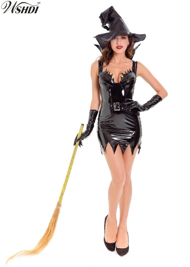 2018 Carnival Party Fancy Witch Costumes Halloween For Adult Women Black PU Leather Witch Cosplay Costume