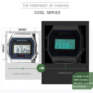 Image 3 - SANDA montre de sport pour hommes, en or et argent, numérique, Bracelet en acier inoxydable, étanche, collection LED