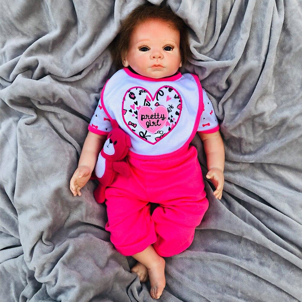 Bebes Reborn Puppen de Silikon Mädchen baumwolle Körper 50 cm kleinkind baby Reborn Puppe Spielzeug Für kinder Neugeborenen bebes menina boneca-in Puppen aus Spielzeug und Hobbys bei  Gruppe 1