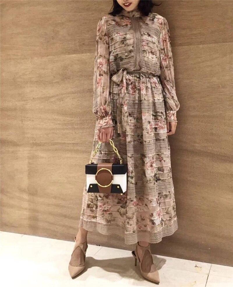 Femmes 2019 Soie Pleine Midi Imprimé Arrivent Floral Nouveau Manches Printemps Robe Vacances rqFXPr