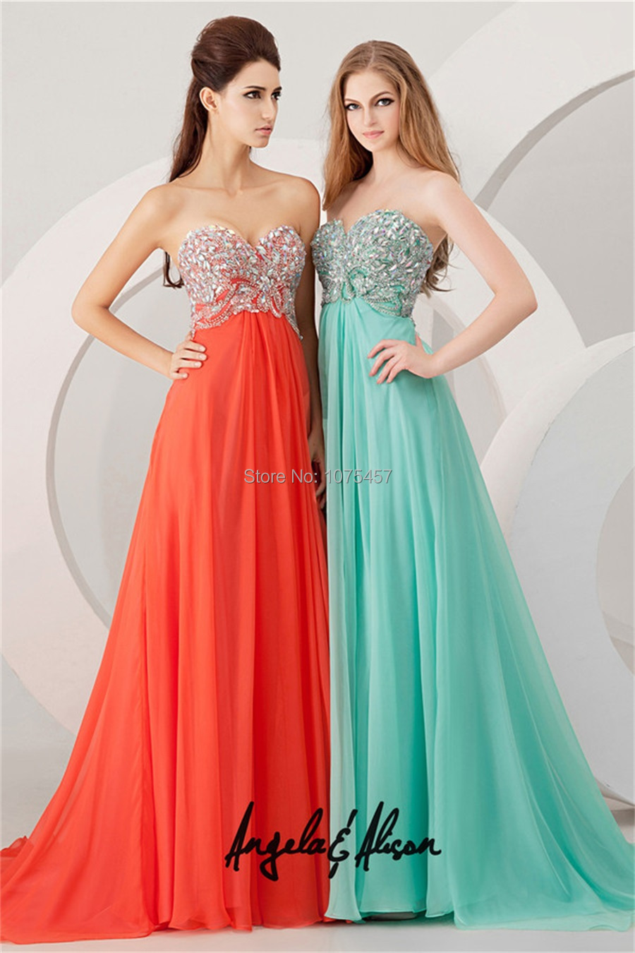 Free Shipping Orange Prom Dress With Crystal Beading 2014 Empire ...