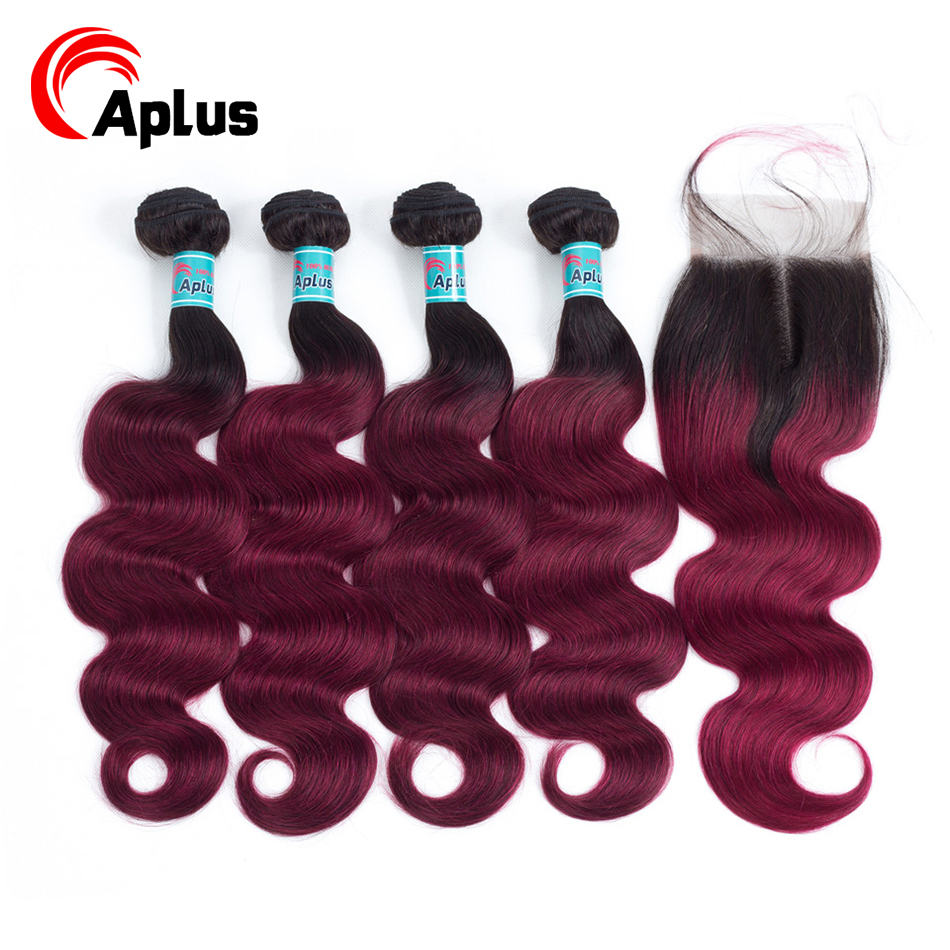 Aplus Human Hair Burgundy 4 Bundles And A Closure Malaysian Body Wave Bundles With Closure T1b Red/Burg Color Non Remy 5Pcs/lot