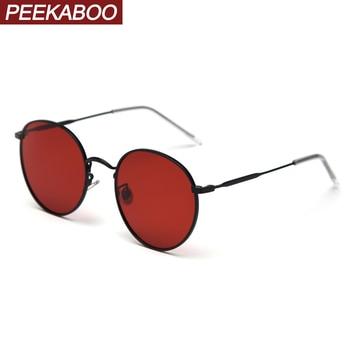 Peekaboo metal round sunglasses women polarized red orange retro sun glasses for men driving eyewear accessories 2019 summer
