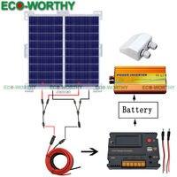 RV Motorhome солнечная система 200 Вт Off Grid power Вт 2x100 Вт солнечная панель В и 220 В инвертор солнечный комплект для дома