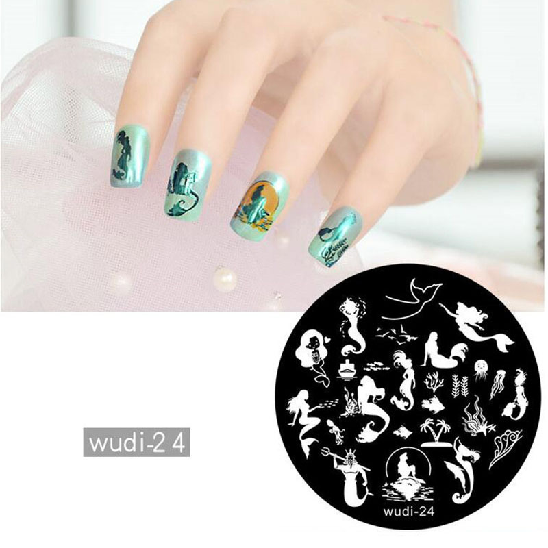 Nail Art 1pcs Round Nail Stamping Template Plates Cartoon Animal Panda Flowers Lace Image Polish Transfer Diy Tools For Nail Art Shrink-Proof Beauty & Health