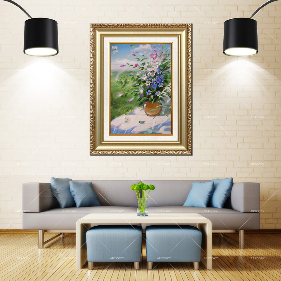 Artcozy Golden Frame Abstract Flower Waterproof Canvas PaintingArtcozy Golden Frame Abstract Flower Waterproof Canvas Painting