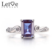 Leige Jewelry Alexandrite Rings Cocktail Rings June Birthstone Color Changing Gems 925 Sterling Silver Fine Jewelry for Women