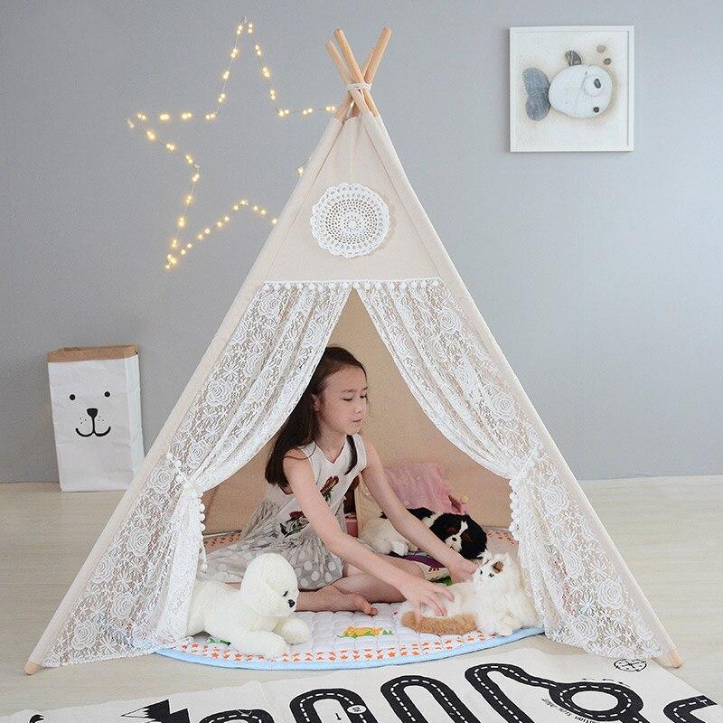 Enfants Tente Quatre Pôles Coton Dentelle Tipi Tente Pour Fille Jouer Tente Pour Kid Wigwam Tipi Bébé Cabine Princesse Château cadeau d'anniversaire