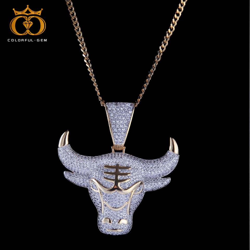 Coloré. gem pendentif vache Animal avec chaîne de Tennis or argent couleur Bling cubique Zircon hommes Hip hop collier bijoux