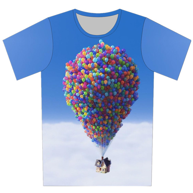 2016 Summer Children Creative 3D T Shirt Print Shell Chocolate Galaxy House Balloon Stairs Cool T-Shirt Boy Girl Fashion Tops