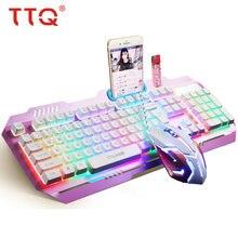 цена TTQ LED Color Luminous Backlit USB Keyboard Mouse with Similar Mechanical Feel Multimedia Ergonomic Gaming Keyboard Mouse Set    онлайн в 2017 году