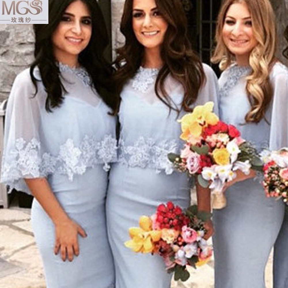 Compare prices on bridesmaid shawl online shoppingbuy low price 2016 mgs unique bridesmaid dresses special chiffon v neck lace appliqued floor length with ombrellifo Choice Image