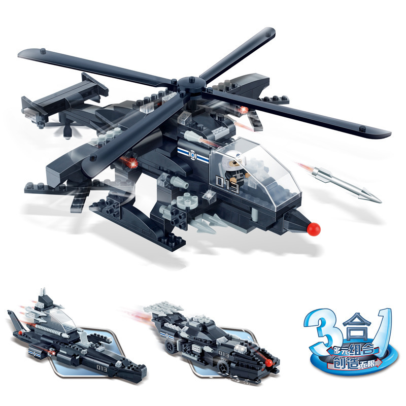 Model building kits compatible with lego city Gunship Submarine Chariot car 771 3D blocks Educational toys hobbies for children