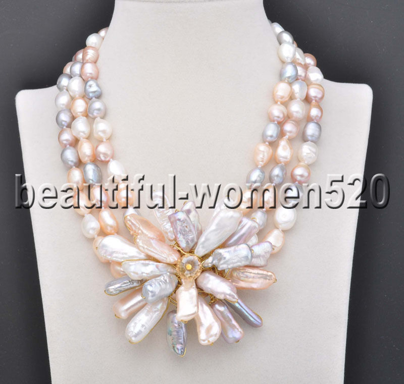 Z8015 3Strands White Gray Pink Baroque pearl Necklace Biwa Flower Pendant 18inch цена и фото