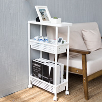 High Quality Mobile Shelving Unit Organizer with 3 Layer Shelf Fridge Narrow Space Saver Slim Pantry Rack for Kitchen Bathroom