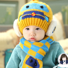 Autumn Winter Boys&Girls Hats Cotton Baby Hats Cute Infant Caps Hats+ Beanies Scarf Set Baby Accessories Baby Clothing