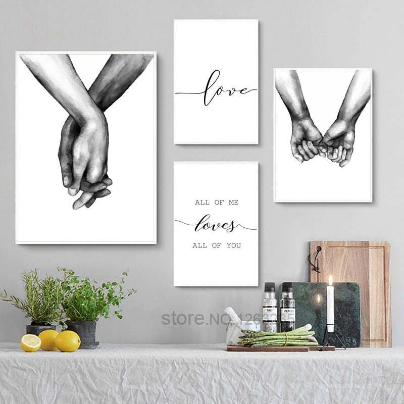 Love Sketch Hands Cuadros Wall Art Nordic Poster Pictures For Living Room Canvas Painting Posters Print Black And White Unframed