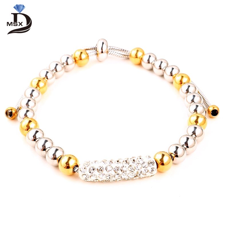 Micro Pave Crystal Style Beautiful Beads Bracelet Top Quality With Cheap Price Adjustable Size For Lady Best Jewelry Gift