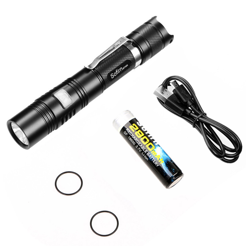 Sofirn SP30A Kit Powerful LED Flashlight Rechargeable USB Flashlight 18650 Cree XPL 1000LM Torch light 6 Mode Tactical Lanterna ...