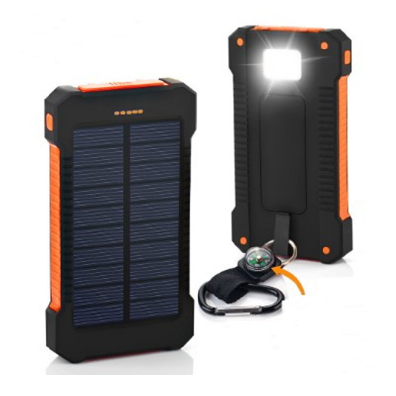 Universal Portable Waterproof Solar Power Bank 15000mah Dual-USB Solar <font><b>Battery</b></font> backup Charger For Samsung iphone smart phone image