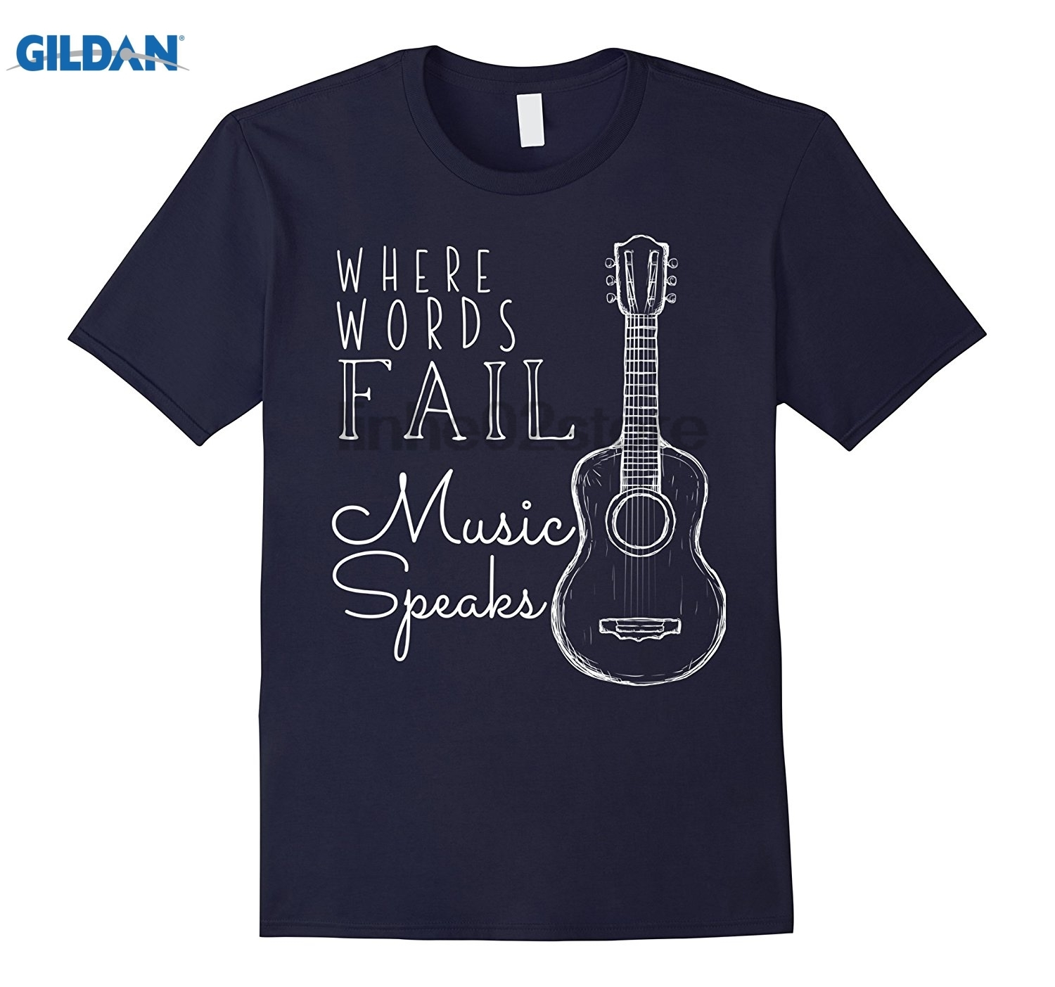 GILDAN Where Words Fail Music Speaks Custom Printed Graphic T-Shirt glasses Womens T-shirt
