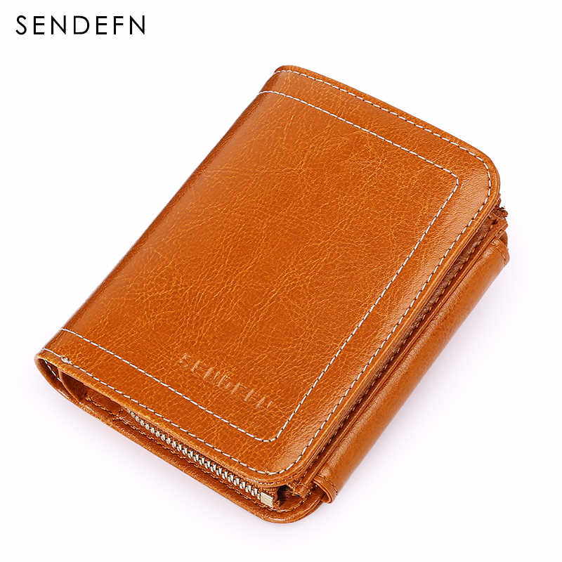 SENDEFN Wallet Female Small Leather Wallet Women Red Brown Color Zipper Money Wallet Coin Purse For Lady High Quality 5202-55