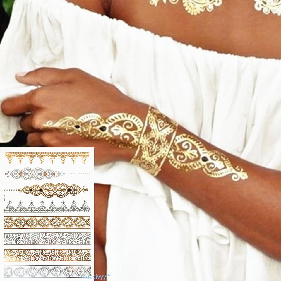 Krasivyy Temporary Golden Tattoos Stickers Jewelry Bracelet Tattoos India Style Flash Tattoo Paste Makeup Girl Waterproof Tattoo
