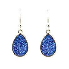 9 Colors 2016 Hot Sale Teardrop Druzy Earrings Fashion Women Golden Frame Adorable Natural Water Drop Drusy Earrings