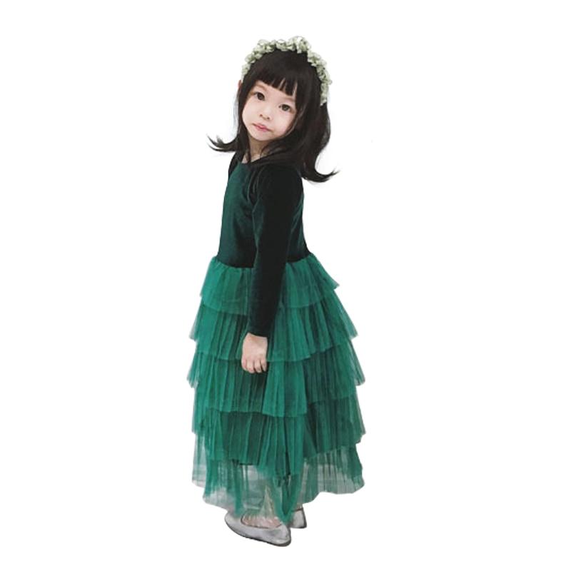 2 - 10 yrs baby girls green velvet stitching lace christmas long dresses 2018 autumn winter princess ball gown halloween costume цены