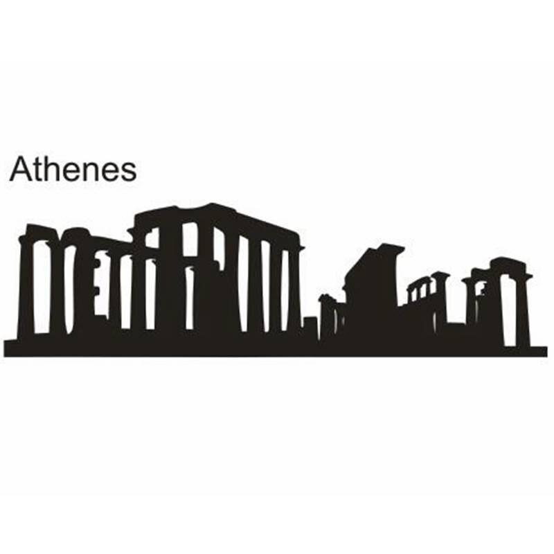ATHENES Ville Decal Repère Skyline Stickers Muraux Croquis Stickers Affiche Parede Décor À La Maison Autocollant