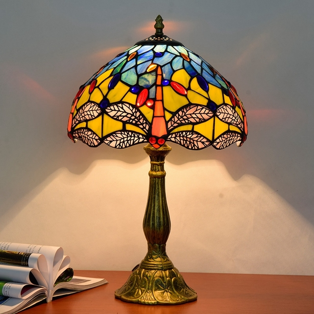 Eusolis 12 Inch Mosaic Stained Glass Vintage Table Lamp Lampara