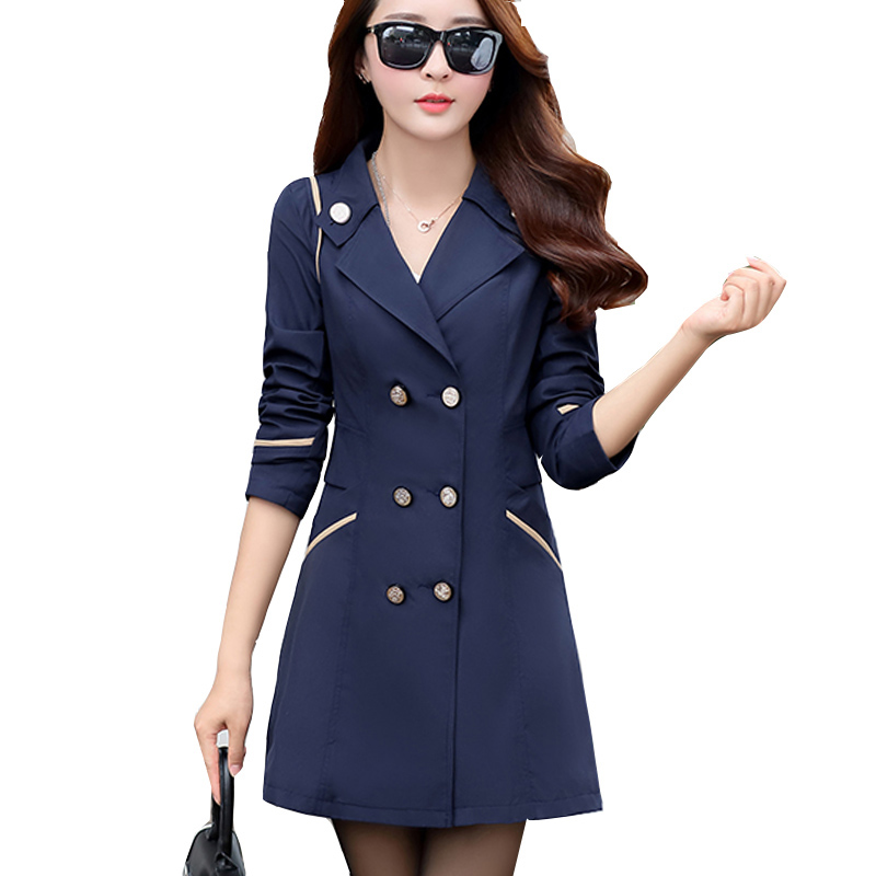 Trench   Coats for Women 2018 Autumn Turn Down Collar Double Breasted Casual Ladies Coats Solid 10 Colors Long Casaco Feminino