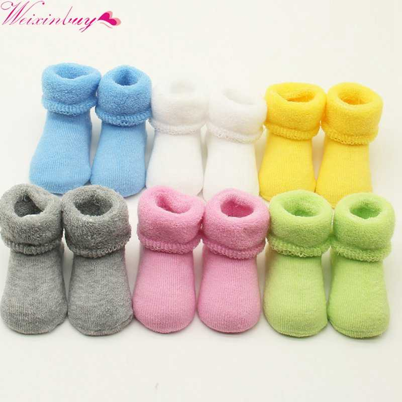 Baby Girls Boys Newborn Infant Winter Warm Boots Toddler Kids Soft Cotton Socks Booties 0-2 Y