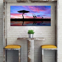 Large Poster Wall Art Canvas Print Purple Dusk Landscape Picture African Grasslands Giraffes Panoramic Painting Motel Home Decor