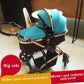 El Bebé Cochecito Paisaje de Alta Puede Sentarse Recién Nacido Cochecito de bebé Plegable de Cuatro Ruedas Bebé Choque Mano Empuje Niños Paraguas Coche