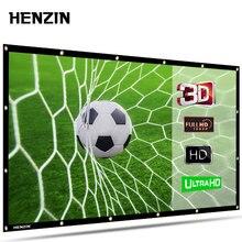 HENZIN 16:9 HD складной 120 дюймов проекционный экран ПВХ ткань проекционный экран для образования офиса домашнего кинотеатра Открытый кинотеатр