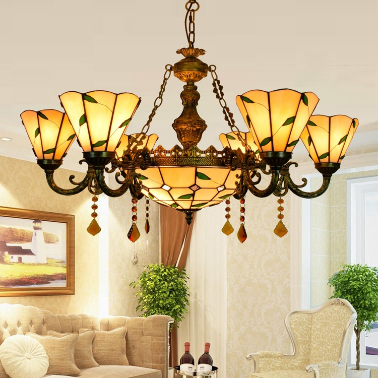Tiffany Flesh Country Flowers Stained Glass Suspended Luminaire E27 110-240V Chain Pendant lights for Home Parlor Dining Room