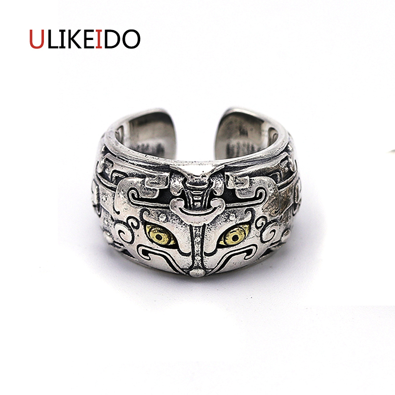 Pure 925 Sterling Silver Jewelry Gluttony Rings God beast Punk Thai Silver Ring For Men Women Birthday Christmas Gift 526 punk style pure color hollow out ring for women