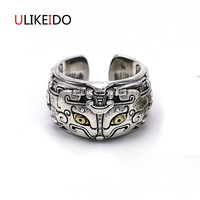 Pure 925 Sterling Silver Jewelry Gluttony Rings God beast Punk Thai Silver Ring For Men Women Birthday Christmas Gift 526