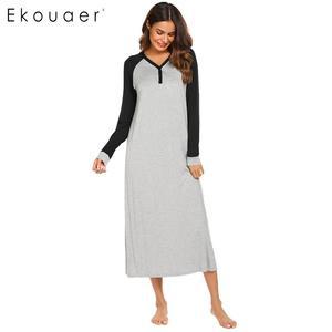 Image 5 - Ekouaer ยาว Night ชุด Chemise Nightgown ชุดนอนผู้หญิงสบายๆ Patchwork แขนยาว V คอชุดนอนชุดนอน PLUS ขนาด