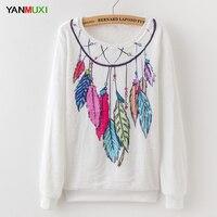 YANMUXI Long Sleeve Women Sweatshirts Pullovers 2017 Tribe Feather Print Hoodies Autumn Winter Casual Chirstmas White Hoodie women Sweatshirts & Women Hoodies