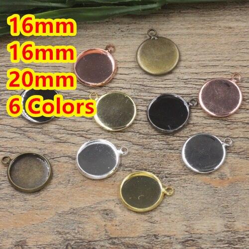 16mm, 18mm, 20mm 100 adet Bronz/Gümüş/Altın/Siyah Boş Kolye Iki askı Cam için Tepsiler Üs Cameo Cabochon Ayarı/Çıkartmalar