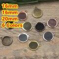 16mm, 18mm, 20mm 100 pcs Bronze/Prata/Ouro/Preto Pingente Em Branco Dois cabide Bases Bandejas Cameo Cabochon Ajuste para o Vidro/Adesivos